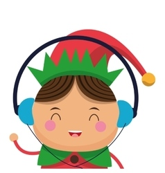 Happy cute christmas elf listening to music icon vector