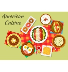 Typical dishes of american cuisine dinner icon vector