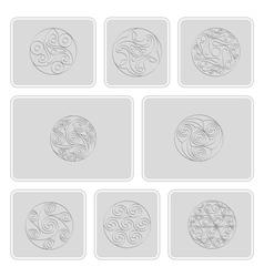 Icons with irish geometric ornament vector
