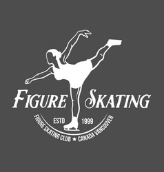 ice skating label logo set vector image