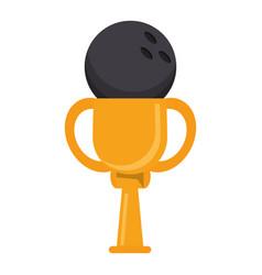 trophy bowling ball winner vector image