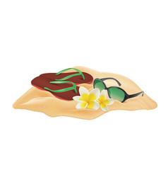 Beach composition sand plumeria flowers vector