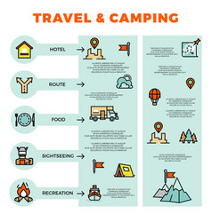 Travel and camping colorful infographic with line vector