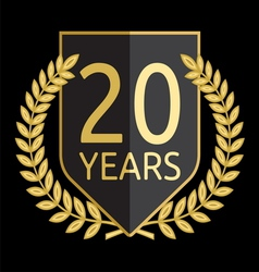 Golden laurel wreath 20 years vector