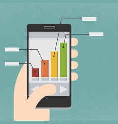 mobile phone and infographics vector image