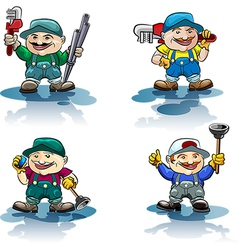 The plumber icon set vector