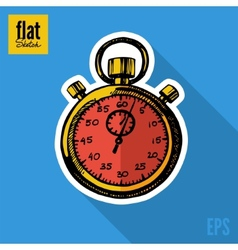 Sketch style hand drawn stopwatch flat icon vector image