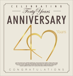 40 years Anniversary background vector image