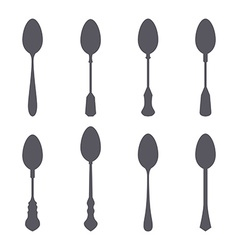 Set of spoon silhouette vector