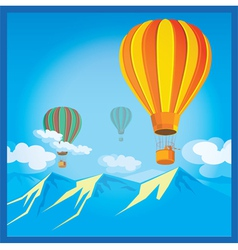 Air balloons over the mountains vector