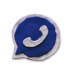 Blue phone handset in speech bubble icon vector