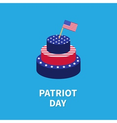 Cake with star and strip flag patriot day flat vector