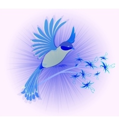 Bird of paradise with flowers eps10 vector