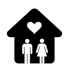 House with heart simple icon vector