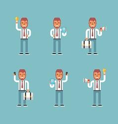 Cartoon Character Set of Businessman in Various vector image