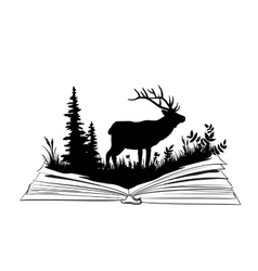 Deer silhouette in the open book vector