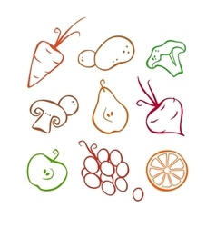 Vegetables and fruits part 1 colored outlines vector