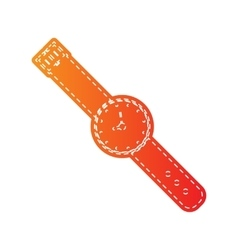 Watch sign  orange applique isolated vector