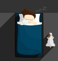 Bed sleep time salary man cartoon lifestyle vector
