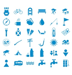 Set of tourist ecvipment icons vector