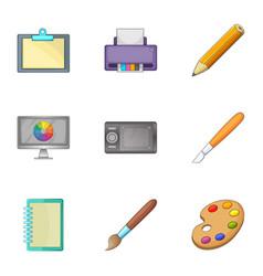 art tools icons set cartoon style vector image