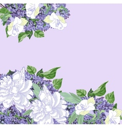 Background with white peonies and lilac vector image vector image