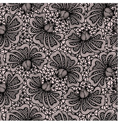 Black seamless flower lace pattern vector