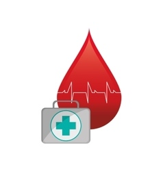 Blood drop cardiogram and first aid kit icon vector