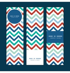colorful ikat chevron vertical banners set pattern vector image