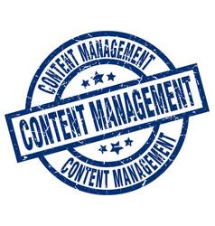 Content management blue round grunge stamp vector