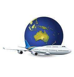 Earth globe and airplane vector