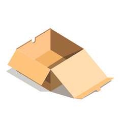 Empty paper open cardboard box isolated on white vector