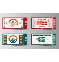 Football soccer and Baseball ticket design vector image vector image