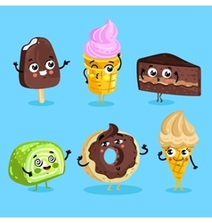 Funny sweet food characters cartoon isolated vector image vector image