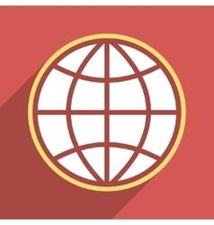 Globe Flat Long Shadow Square Icon vector image