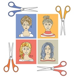 Hairstyles and scissors 2 vector