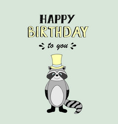 happy birthday lettering party with baby raccoon vector image vector image