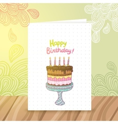 Happy Birthday postcard template withcake vector image vector image