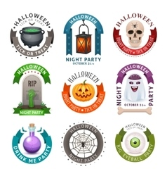 Happy halloween badges and labels vector