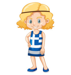 Little girl in shirt with greece flag vector