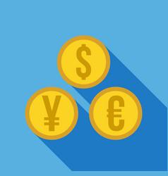 Money set - dollar euro yen icon vector