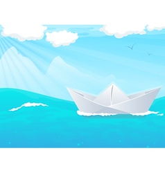 Paper boat in water vector