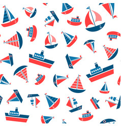 Pattern with boat icons vector