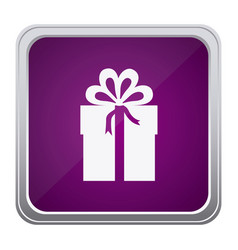 Purple emblem box with bow ribbon icon vector