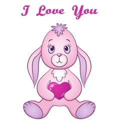 Rabbit with Valentine Heart vector image vector image