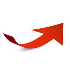 red arrow symbol bent paper arrow icon isolated vector image