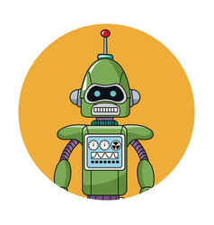 Robot technology circle icon vector