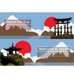 Set banners travel to Japan vector image