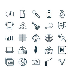 set of 25 universal editable icons can be used vector image vector image