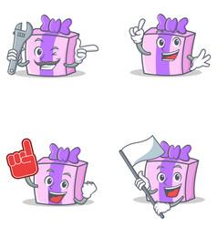 Set of gift character with mechanic foam finger vector